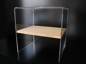 Plexiglas bedside table with bamboo shelf