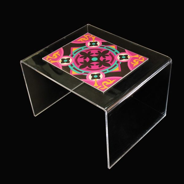 Clear coffee table with colour insert