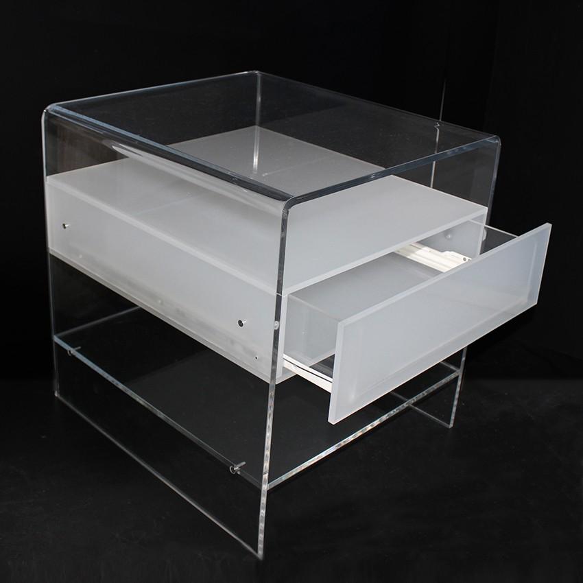 Comodino in Plexiglass trasparente con cassetto satinato