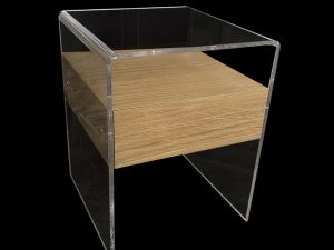 Plexiglas bedside table with wooden drawer