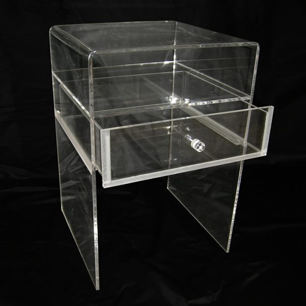 Plexiglass bedside table with see through drawer