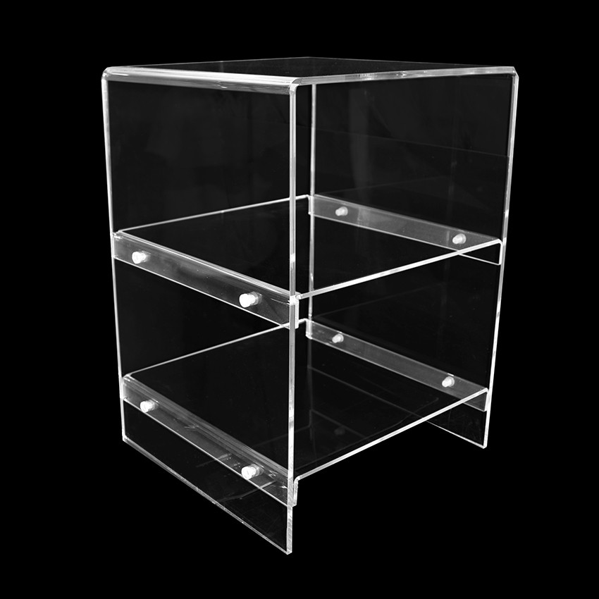 Clear plexiglas bedside table with 2 shelves