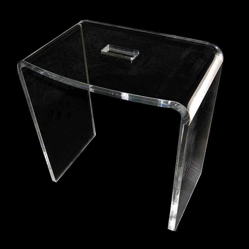 sgabello doccia in plexiglass trasparente