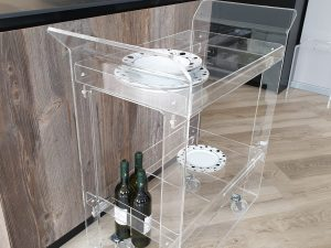Clear plexiglas food and drinks trolley Elegance