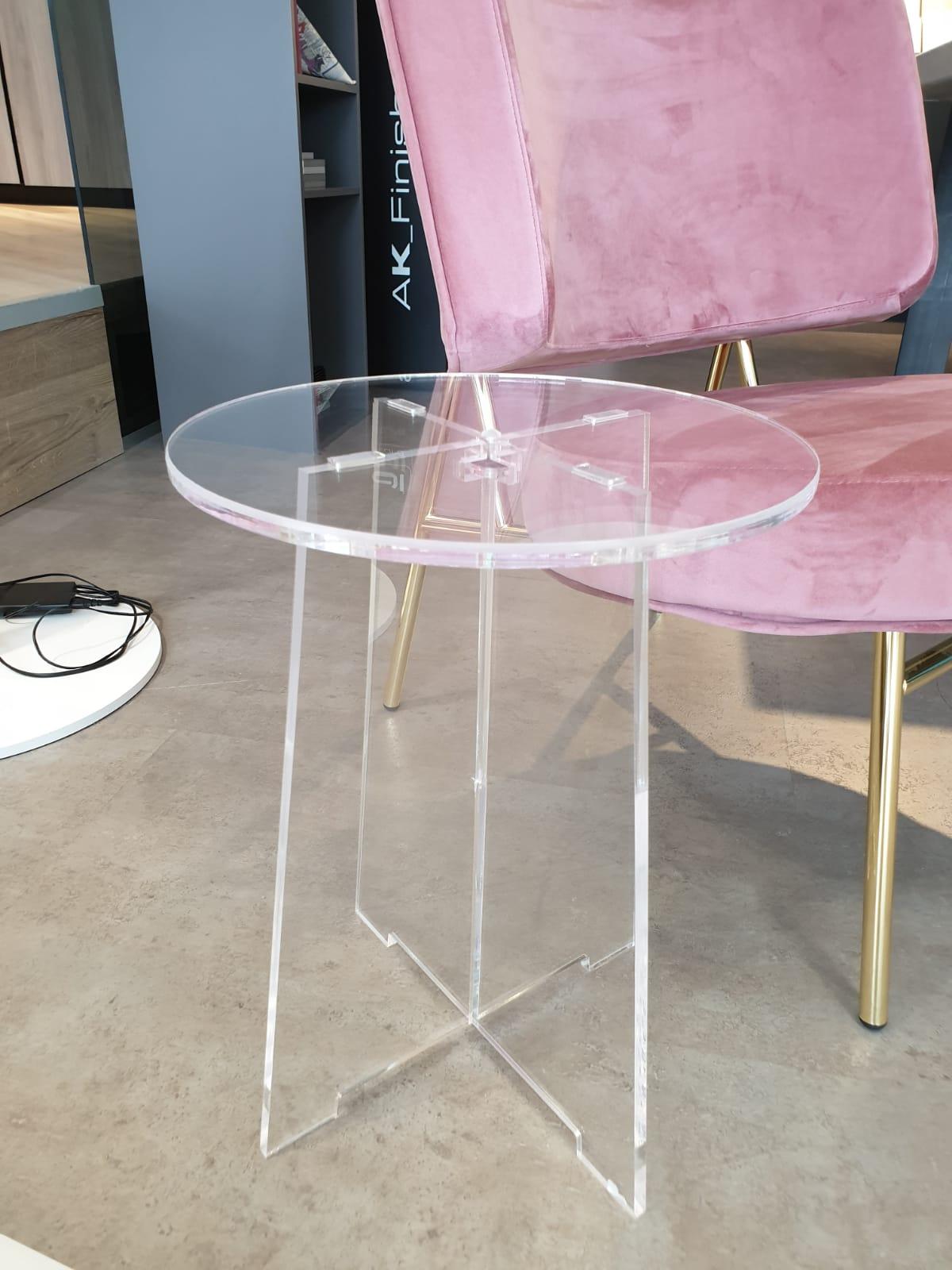 Round Plexiglas side table