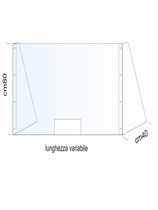 Pannello plexiglass protezione da banco
