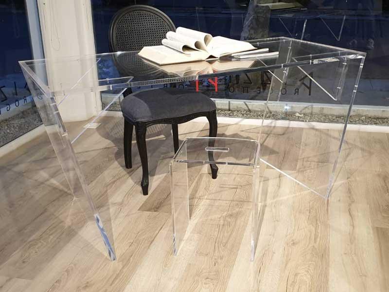 Scrivania Tavolo plexiglass trasparente