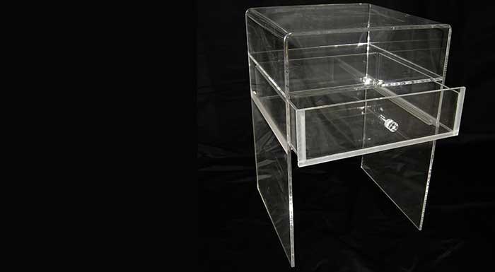 Bedside tables in plexiglass